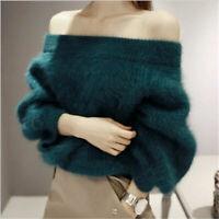 Lady Faux Mink Fur Knit Jumper Sweater Pullover Top Off Shoulder Lantern Sleeve