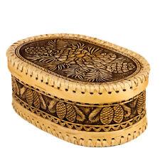 Birch Bark Bread Candy Pastry Box w/ Lid Hand Made Russia Wood Beresta Cones Art