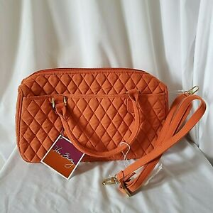 Vera Bradley Purse Boston Bag Microfiber Orange Satchel Crossbody Spice New