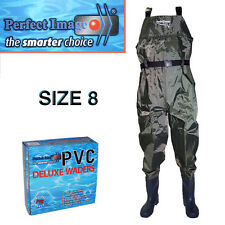 PERFECT IMAGE SIZE 8 PVC DELUXE OVERALL WADERS FISHING FLOUNDER PRAWNING BOATING