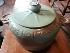 Vintage Frankoma 94W Casserole Pottery Prairie Green Red Clay Horseshoe handle