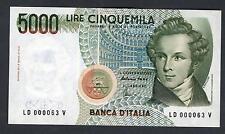 5000 Lire Bellini sr. 000063 numeri bassi FDS
