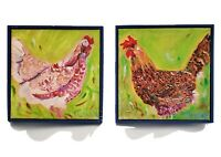 Lot of 2 Original Paintings Chickens Rooster Signed Blue Green Farmhouse Framed