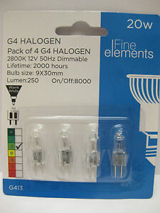 4 x G4 20W 12V HALOGEN PINLIGHT LAMP BULB CAPSULE DIMMABLE 2000 HOURS WARM WHITE