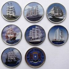 SOMALIA SET OF 7 DIFFERENT 1 SHILLING 2015 SAILING SHIPS SHIP COLOURED COINS