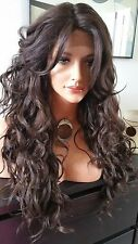 Beautiful Dark Brown Lace Front Wig w/Long Bangs Long Curly Heat Safe
