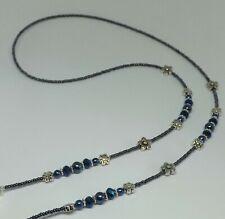 Navy Blue Tones Glass Beads Flower Handmade Eye Glasses Chain Spectacles Holder