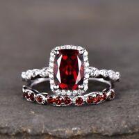 2ct Cushion Cut Red Garnet Halo Bridal Set Engagement Ring 14k White Gold Finish