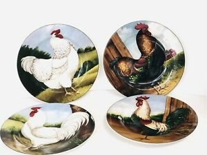 "Set 4 On The Farm Dessert Salad Plates Chicken Rooster David Carter Brown 8"""