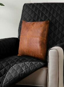 QAWACH 100% Genuine Leather Home Decorative Pillow Cover 22 X 22 Size For Sofa