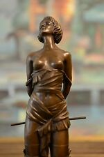 """Bronze Nude girl with Riding Corp Statue """"The Riding Crop"""", signed: Milo"""