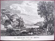 Burin, Le printemps vue du Rhône, Benedict Winckler, d'après David Teniers