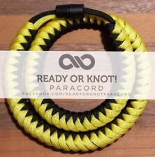 550 Paracord Snake Weave Survival Necklace Yellow / Black (21 inches)