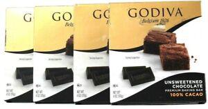 4 Count Godiva 4 Oz Unsweetened Chocolate 100% Cacao Premium Baking Bar BB 6/21