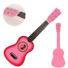 21 Inch Acoustic Guitar Wood for Children Kids Beginners w/ Pick Pink