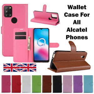 New Flip Wallet Case Cover Premium Leather Stand For All Alcatel Mobile Phones