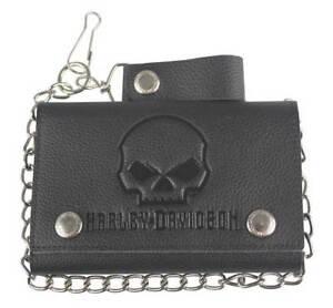 Harley-Davidson® Mens Willie-G Skull Black Leather Tri-fold Chain Wallet XML4719
