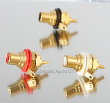 4 Neutrik NYS367 Gold RCA Phono CHASSIS SOCKETS Professional Red/White REAN
