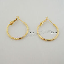 "NEW GREAT CUTE 24K YELLOW GOLD GP SOLID FILL OVERLAY CARVED HOOP 0.87"" EARRING"