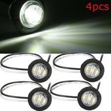 4X 12V UNIVERSAL CAR TRAILER WHITE SMALL ROUND LED BUTTON MARKER LIGHT LAMPS AU