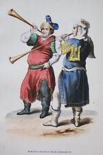 GRAVURE-MUSICIENS ANGLAIS EDOUARD III-COSTUMES MOYEN AGE 1847-ANTIQUE  PRINT