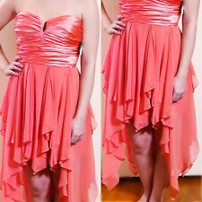 Coral Delight Formal Party Prom Dress Size L 80s Vibe Asymmetrical Fluffy