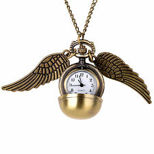 Harry Potter Snitch Pocket Watch Pendant Necklace Steampunk Quidditch Wing Clock