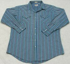 18.5 36 Ely Cattleman Blue Dress Shirt Top Cotton Poly Long Sleeve Pearl Snap