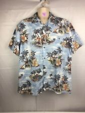 2f700be1 Island Shores Men's Sz XL Hawaiian Shirt Blues W/ Floral & Cocktail Pattern