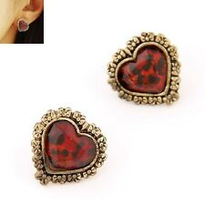 2pairs/lot Hot Selling Retro Personality Small Peach Heart Leopard Earring Women