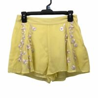 New Friends Colony Womens Shorts Yellow Purple Embroidery High Waist Lined M New