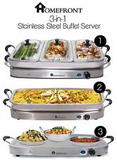 HOMEFRONT 3-IN-1 LARGE STAINLESS STEEL 4 PAN BUFFET SERVER + FOOD WARMING TRAY