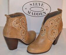 New $149 Steve Madden Awsum Leather Ankle Short Studded Cowboy Boot Stone 6 Heel