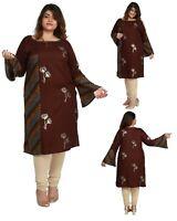 PLUS SIZE - Women Indian Cotton Brown Kurti Tunic Kurta Shirt Dress ECURVE18C