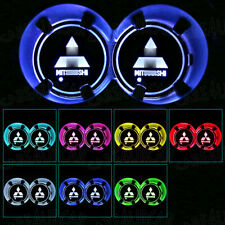 For Mitsubishi LED Car Cup Bottle Holder Pad Mat Auto Interior Atmosphere Lights