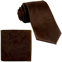 New Men's Polyester Woven Neck Tie necktie & hankie set paisley brown wedding