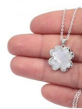 Sterling Silver 925 Four Leaf Clover Necklace Mother Of Pearl Centre