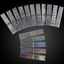 16Pcs Laser Holographic Nail Foils Glitter Nail Transfer Stickers Paper Manicure