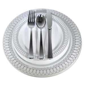Dinner - Wedding Disposable Plastic Plates & silverware Set, silver/ gold Oval