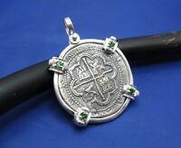 Atocha Pirate Caribbean Shipwreck Coin Replica Emerald Pendant Necklace Jewelry