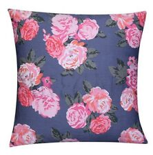 Grey Plush 100% Twill Cotton Cushion Cover For Sofa Bed with Pink Floral Design
