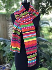 "Colorful Geometric Scarf Scarve Pink Yellow Green Blue 61"" Fun"