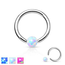 New Surgical Steel Opal Ball BCR Captive Bead Ring Cartilage Tragus Hoop Ring