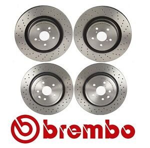 Front and Rear Disc Brake Rotors X-Drilled Brembo For Lexus IS F 2008-2014 5.0L