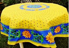 """LE CLUNY, SUNFLOWER BLUE FRENCH PROVENCE COATED COTTON TABLECLOTH, 70"""" ROUND"""