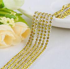 Thin Crystal Rhinestone Close Cup Chain Trim Claw Chain Jewelry Craft 1Yard 1Row