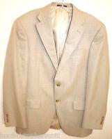 Hart Schaffner Marx Men's 40R SILK 2 Button Blazer Jacket in Beige