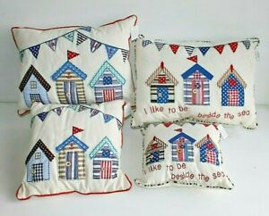 Beach Huts Filled Scatter Cushions 4 Designs  100% Cotton  Coastal Home Decor