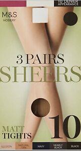 NEW M&S SIZE LARGE 3 PAIR PACK SHEERS 10 DENIER MATT TIGHTS