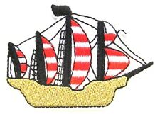 Pirate Ship Iron On Patch- Kids Sail Boat Yacht Applique Crafts Badge Sew
